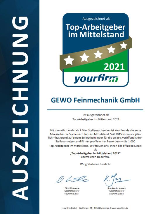 Urkunde Top Arbeitgeber im Mittelstand yourfirm